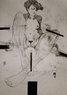 """Saatchi Online Artist: Michael Lentz; Monotype, 2012, Printmaking """"NUDE No 2719 // MUZA"""""""