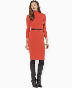 $163 Lauren by Ralph Lauren Dress, Long-Sleeve Belted Turtleneck - Womens Sweater Dresses - Macy's