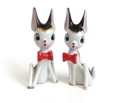 Vintage Deer Figurines Red Bow Ties Kitschy by VintageByJade