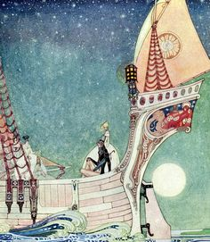'In Powder and Crinoline' 1912  The ship headed about and sped over the depths of the sea (from The Twelve Dancing Princesses) -  Kay Nielsen illustration