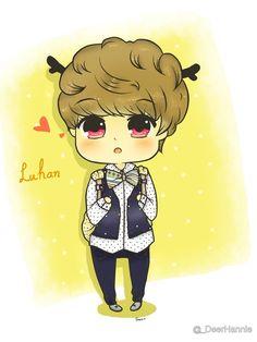 Luhan chibi! His chibi forms always have deer antlers, so cute! ≧ω≦
