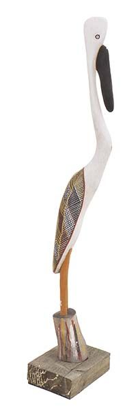 Lot 6.  TIWI ISLAND BIRD SCULPTURE   carved wood and decorated with traditional…