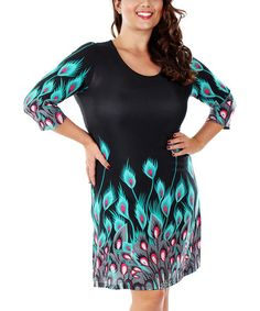 Another great find on #zulily! Turquoise & Black Peacock Shift Dress - Plus by Aster #zulilyfinds