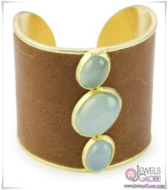 Marcia Moran Blue Agate Stones and Brown Leather Cuff Bracelet