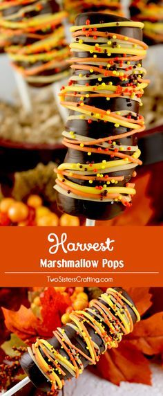 Harvest Marshmallow Pops - a festive and yummy Thanksgiving dessert that is so easy to make. These Chocolate covered Marshmallow treats are super delicious and perfectly colored for Autumn. They would be a great Thanksgiving Treat for this year's Holiday Parties. Pin this delicious Fall Candy for later and follow us for more great Thanksgiving Food Ideas.