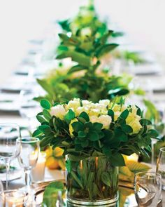 White Roses and Greenery Centerpieces | Martha Stewart Weddings