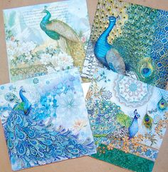Decoupage Napkins - Peacock Design, 4 Different Peacock Paper Napkins for Decoupage, Collage, Scrapbooking and Paper Craft Projects