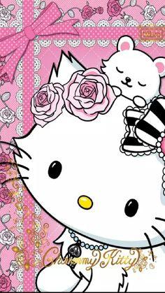 Charmmy Kitty and Sugar Hello Kitty Art, Hello Kitty Items, Hello Kitty Pictures, Kitty Images, Sanrio Wallpaper, Hello Kitty Wallpaper, Hello Kitty Imagenes, Kawaii Background, Hello Sanrio
