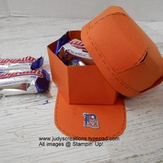 Grads & Dads week on my blog-Baseball Cap Treat Holder by Judy Strickling using Window Box Thinlits Stampin' Up!