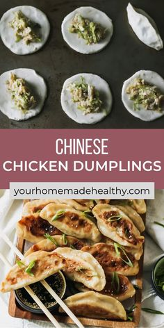 With their perfectly crisp outer shell and warm flavorful filling, with ground chicken, cabbage, and ginger, these healthy chinese chicken dumplings are one of the best meals around. You can learn how to make your own dough or pick up wrappers at the store. This recipe offers suggestions for making things quick and easy, while keeping them as homemade as possible. Pair these dumplings with the slightly salty, nutty, and tangy sesame soy dipping sauce, it's a match made in heaven! Ground Chicken Recipes, Healthy Chicken Recipes, Asian Recipes, Chinese Chicken Dumplings, Healthy Chinese, Asian Cooking, Main Meals, Quick Easy Meals, Crisp