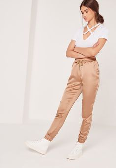 Get the luxe look and work the sports trend in these rose gold beauts. Silky soft to the touch and in a luxe gold hue, pair with a crop top and flatforms for casual vibes.