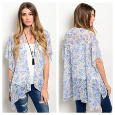 Host Pick White Floral Kimono Sheer Off-White Floral Kimono. Features short flutter sleeves and an open front. 100% Polyester  Sizes Available: S,M,L  *Please do not purchase this listing, I will create a new listing with your size* Boutique Tops
