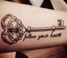 Follow Your Dreams Heart Key Tattoo