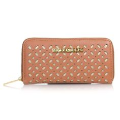 It is so beautiful and fashion. We love it - Michael Kors Flower Perforated Large Brown Wallets, Just $30.99. #NYFW