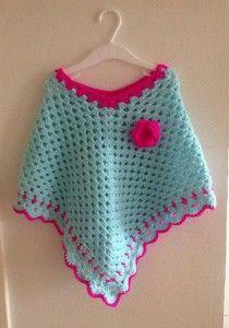 Crochet Poncho Gehaakte Poncho Kinderponcho Yarn Pinterest