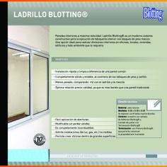 El Ladrillo Blotting® es una tabiquería interior compuesta por Ladrillos Blotting® macizos de roca de yeso de 50x50x8cm y 10cm de espesor, apto para todo tipo de divisiones interiores.
