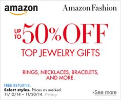 Up to 50% Off Top Holiday Jewelry Gifts http://www.amazon.com/b/?ref_=assoc_tag_ph_1415729648574&_encoding=UTF8&camp=1789&creative=9325&linkCode=pf4&node=10224470011&tag=fambs-20&linkId=Y5OMVWH5XKOW2JGZ