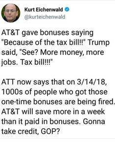 """Just wait til the other 'Shoe Drops' and the effects of these """"Wealthy Only"""" Tax Cuts Kick In. By years end there's going to be a lot of Bitchin & Complaining from the very people who voted for trump/Republicans. #emptypocketbooks"""
