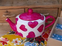 Hot Pink and White Heart Tea Pot