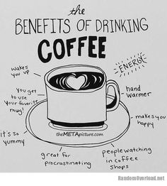 Here's a great infographic showing the benefits of coffee *tongue firmly in cheek*  To your good health! (Or health of those around you...)