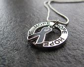 Melanoma Cancer Ribbon Necklace: Ring of Hope Necklace with Black Ribbon, Skin Cancer Awareness