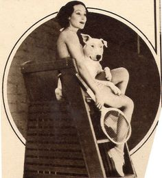 Dolores del Rio and her bull terrier, Michael, 1938