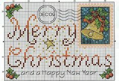 "Would leave off the Post Card/stamp and put the ""Merry Christmas"" in a frame. Use dark red threads."