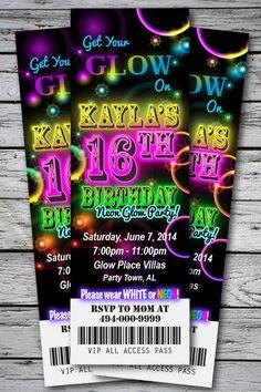 Sweet 16 GLOW in the Dark Theme NEON DISCO Birthday Party Invitation TICKET Stub