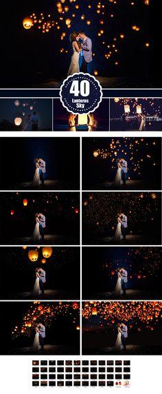 Sky Lanterns Photoshop Overlays, light effect, wedding party holiday overlays, photo editing, mini Sessions, background, backdrop
