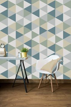 Geometric Removable Wallpaper Self Adhesive by Nicematches on Etsy