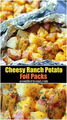 Cheesy Ranch potatoes cooked in foil packs are the perfect side dish for cooking .Cheesy ranch potatoes cooked in foil packs are the perfect side dish for cooking and grilling. Cooking in foil packs on Cheesy Ranch Potatoes, Chicken Bacon Ranch, Grilled Foil Packets, Foil Pack Meals, Foil Packet Dinners, Foil Packet Recipes, Tin Foil Dinners, Cookout Food, Food For Bbq