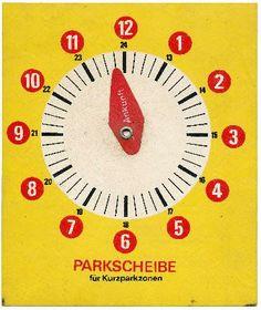 DDR Museum - Museum: Objektdatenbank - Parkscheibe    Copyright: DDR Museum, Berlin. Eine kommerzielle Nutzung des Bildes ist nicht erlaubt, but feel free to repin it! British Broadcasting Corporation, Ddr Museum, East Germany, Berlin Wall, Everyday Objects, Childhood, Memories, Clocks, Watches