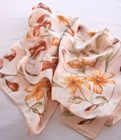 Brown Yellow Iris and Daisy Scarf, 80s Floral by CandyAppleCrafts, $10.00
