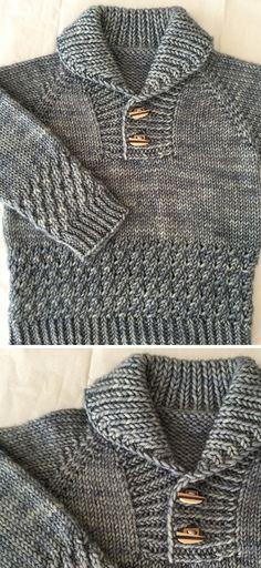 Boy Sweater - Knitting Pattern Baby Boy Knitting Patterns Free, Baby Cardigan Knitting Pattern, Quilt Patterns Free, Knit Or Crochet, Free Crochet, Boys Sweaters, Easy Knitting, Knitted Hats, Doll