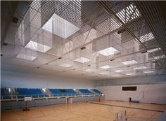 """Moisés Ruiz"" Sports hall1st Prize in Competition. The building, which forms part of the facilities for the 25th Mediterranean Games, is created in response ..."