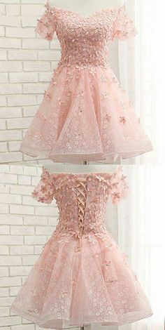Pink Homecoming Dress With Flower,Short Sleeve Homecoming Dress,Short Prom Dress on Luulla Lace Homecoming Dresses, Hoco Dresses, Dance Dresses, Pretty Dresses, Evening Dresses, Formal Dresses, Quinceanera Dresses Short, Cute Short Prom Dresses, Bridesmaid Dresses