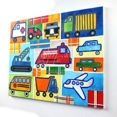 Boys Room Wall Art Truck Painting with Plaid accents by nJoyArt