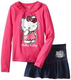 Amazon.com: Hello Kitty Girls 2-6X Skirt Set with Long Sleeves: Clothing