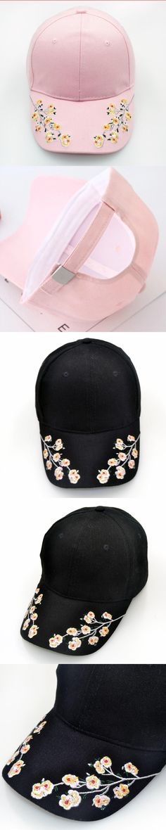 2017 simple fashion flower embroidery baseball cap black snapback for women  outdoor cotton tennis golf hat 984a1d3df9b4
