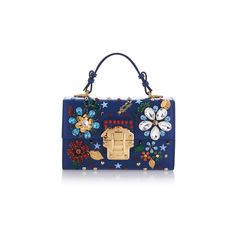 Dolce & Gabbana Crystal and Stud-Embellished Bag (€2.950) ❤ liked on Polyvore featuring bags, handbags, shoulder bags, bolsa, top handle handbags, embellished handbags, blue purse, blue shoulder bag and crystal studded handbags