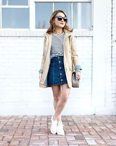 Pin for Later: 33 Outfits Every Petite Woman Should Try A Striped Shirt, a Denim Mini, a Jacket, and Sneakers