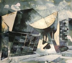 Geometric shapes of the Lowry in Salford, Manchester. Mix media artwork on paper using Quink and bleach. By Tom Quigley