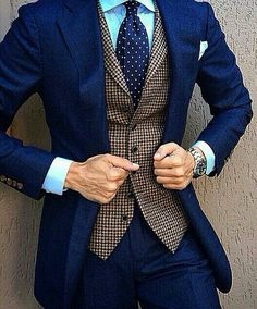 Favorite shade of blue w/patterned vest, polka dot tie!