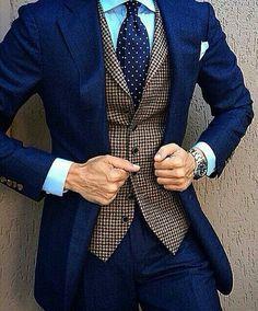 Favorite shade of blue w/patterned vest, polka dot tie!