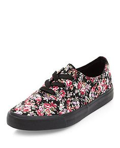 Pink Floral Print Lace Up Plimsolls  | New Look