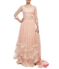 This ensemble comprises of pink anarkali embellished with 3d flowers and sequin work. It is worn with a sequin sheet lehenga and pink net dupatta with 3d flowers.
