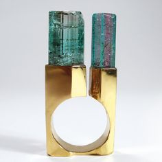 Tower Ring by Jean Vendome - crystals watermelon tourmaline, gold