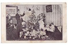 Vintage 1900's Christmas Tree Postcard Victorian Parlor 1907 Saronville Nebraska Postmark J L Sundean