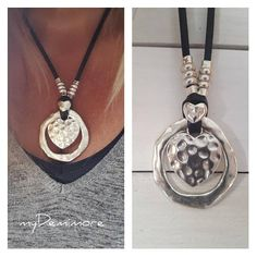 endless Ring Pendant leather necklace big heart Boho Gypsy
