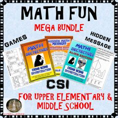 Make make fun for your middle school students. CSI math, hidden messages, mystery pictures, games and more. Great for upper elementary and middle school students.